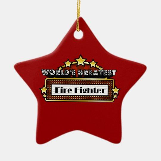 El bombero más grande del mundo adorno navideño de cerámica en forma de estrella