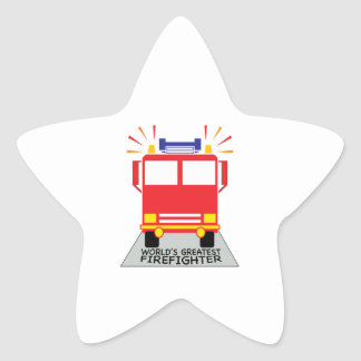 El bombero más grande pegatinas forma de estrella