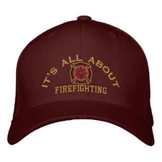 El bombero valora el bordado de encargo gorra de beisbol bordada