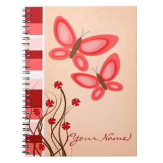 El bonito en mariposas rosadas personalizó el cuad cuadernos