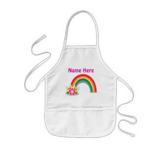 El bonito personalizó el delantal del arco iris