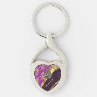 El bonito personalizó el patten púrpura femenino llavero plateado en forma de corazón