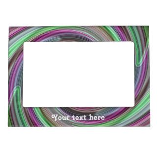 El bonito verde y púrpura remolina para personaliz marcos magneticos