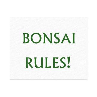 El bonsai gobierna el texto verde impresión en lienzo