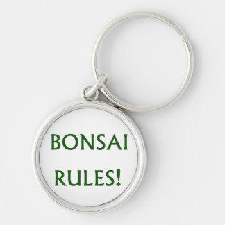 El bonsai gobierna el texto verde llavero redondo plateado