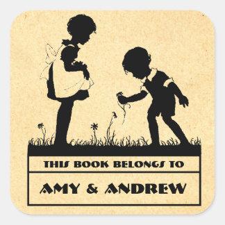 El bookplate de los niños de la silueta calcomanías cuadradas