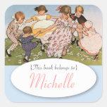 El bookplate de los niños del ejemplo del vintage colcomanias cuadradass