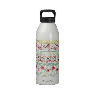 El bordado del arte del pixel de Pixelated florece Botella De Beber