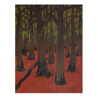 El bosque con la tierra roja c 1891 tarjeta postal