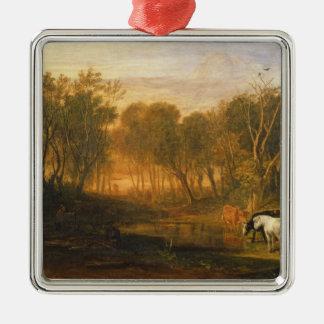 El bosque de la cebada, c.1808 adorno navideño cuadrado de metal