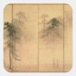 El bosque de pinos pegatina cuadrada