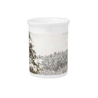 El bosque debajo de la nieve en el invierno jarron