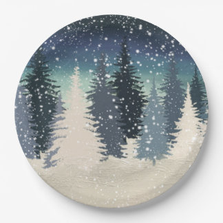 El bosque del invierno lo dejó nevar plato de papel de 9 pulgadas