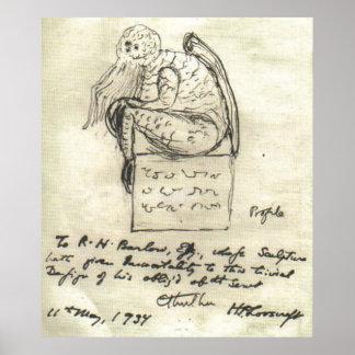 El bosquejo 1934 de Lovecraft Póster