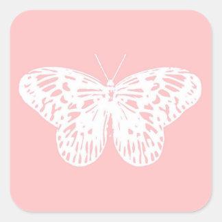 El bosquejo de la mariposa, descasca rosa y blanco pegatina cuadrada