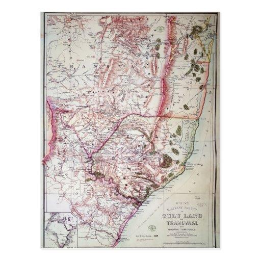El bosquejo militar de Wyld de Zululand, 1879 Tarjetas Postales