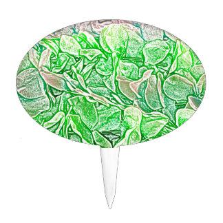 el bosquejo verde de los leus florece el fondo decoración de tarta