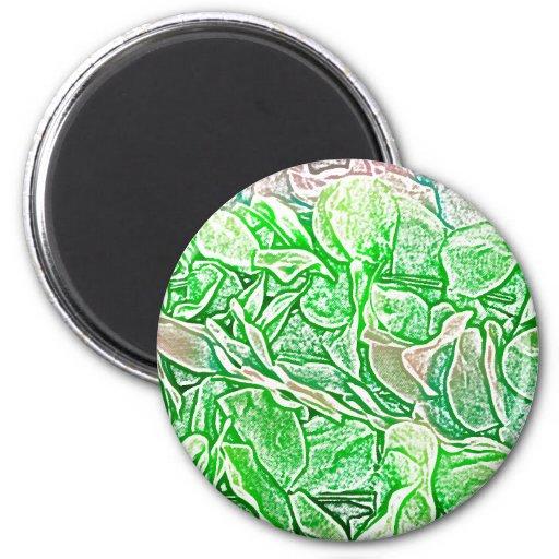 el bosquejo verde de los leus florece el fondo imán redondo 5 cm