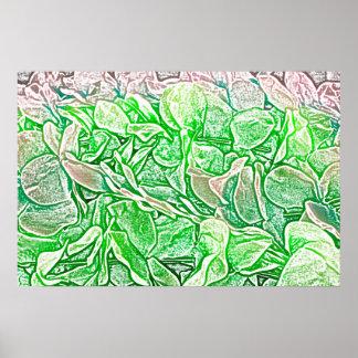 el bosquejo verde de los leus florece el fondo poster
