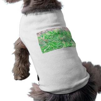 el bosquejo verde de los leus florece el fondo ropa para mascota