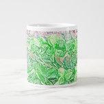 el bosquejo verde de los leus florece el fondo taza extra grande