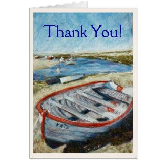 """El bote pequeño """"le agradece"""" Notecard Tarjeta Pequeña"""