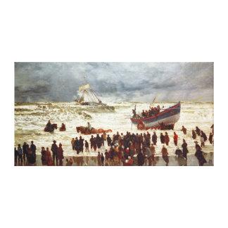 El bote salvavidas, 1873 impresión en lienzo estirada