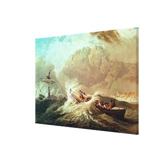 El bote salvavidas de la bahía de Tynemouth Impresión En Lienzo Estirada