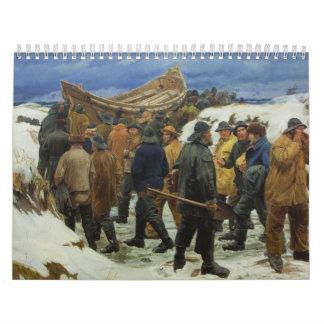 El bote salvavidas es tomado a través de las dunas calendario de pared