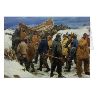 El bote salvavidas es tomado a través de las dunas tarjeta de felicitación
