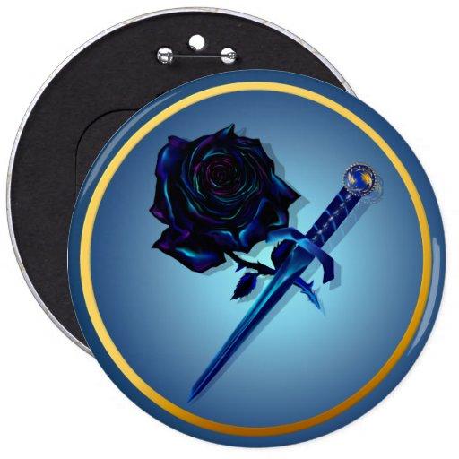 El botón color de rosa y de la daga negro