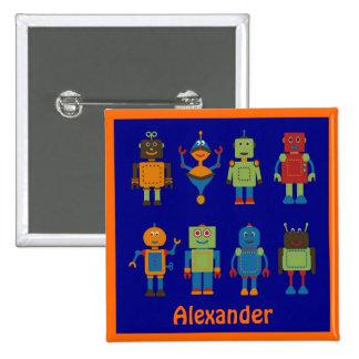 El botón cuadrado personalizado del niño de los am pins