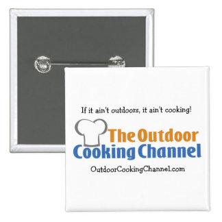 El botón de cocinar al aire libre del canal pin cuadrado