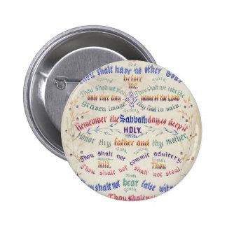 El botón de diez mandamientos pin redondo de 2 pulgadas
