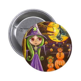 El botón de Halloween de la familia de la calabaza Pin Redondo De 2 Pulgadas