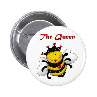 """El botón de la abeja de la """"reina"""" pin redondo de 2 pulgadas"""