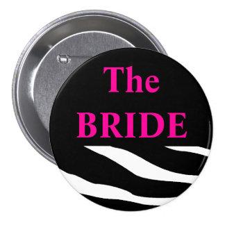 El botón de la cebra de la novia pin redondo de 3 pulgadas