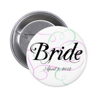 El botón de la novia añade su fecha del boda pins