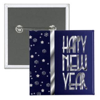 El botón del Año Nuevo de las estrellas y de los c Pin Cuadrado