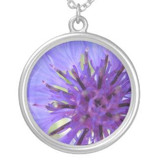 El botón del soltero púrpura excéntrico collar plateado