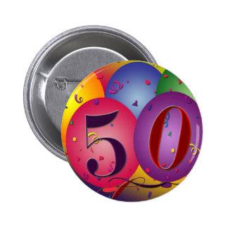 El botón grande de 50 cumpleaños pin