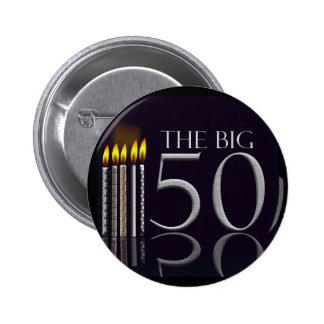 El botón grande de 50 cumpleaños pin redondo de 2 pulgadas