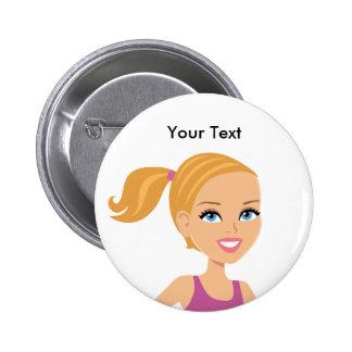 El botón ilustrado cara del chica pins