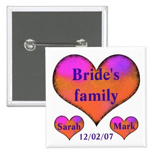 el botón lateral de la novia pins