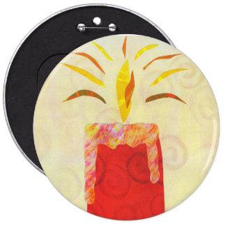El botón que destella de la luz de una vela pin redondo de 6 pulgadas