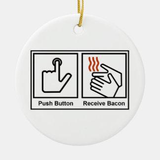 El botón, recibe el tocino adorno redondo de cerámica