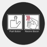 El botón, recibe el tocino - dispensador del tocin pegatina