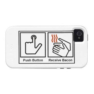 El botón, recibe el tocino vibe iPhone 4 fundas
