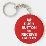 El botón recibe el tocino - guarde la parodia tran llaveros personalizados