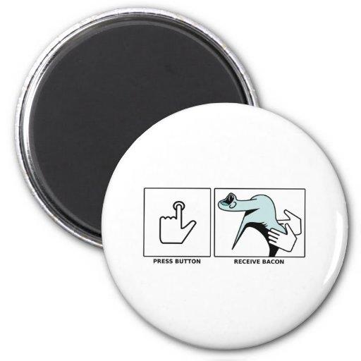 El botón, recibe el tocino iman de frigorífico